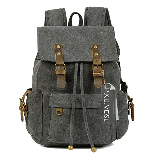 Canvas Backpack, P.KU.VDSL-AUGUR SERIES Vintage Canvas Leather Rucksack Backpacks for Women Travel Hiking Camping School (B - Black)