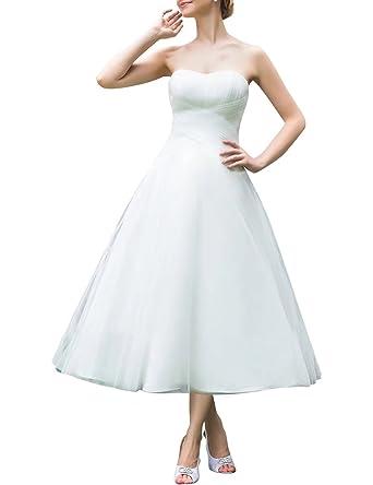 Brautkleider Hochzeitskleider A-Line Prinzessin V-Ausschnitt Tee ...