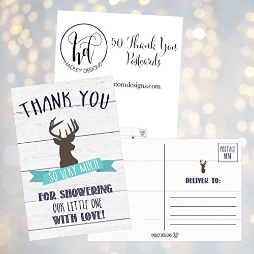50 4x6 Rustic Deer Baby Shower Thank You Postcards Woodland Animals Bulk, Modern Cute Boho Blank Thanks Note Card For Girl or Boy Stationery Appreciation Set Photo #2