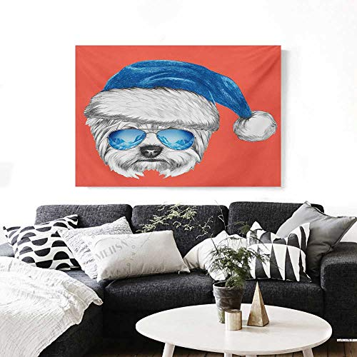 Yorkie Canvas Print Wall Art Terrier with a Blue Santa Hat and Mirror Aviator Glasses Fun Hand Drawn Animal Artwork for Wall Decor 20