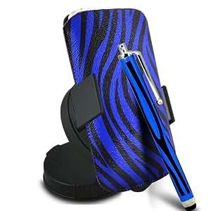 ONX3 Samsung Galaxy Core LTE PU Leather Slip cuerda de tracción Zebra protector en la bolsa con el caso de Quick Release, 360 que gira la horquilla del parabrisas del coche y Mini capacitivo Stylus Pen (Azul y Negro)