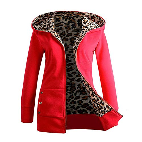 GOVOW Leopard Print Tops for Women Plus Size Plus Velvet Thickened Hooded Sweater Zipper Coat(L,Red)