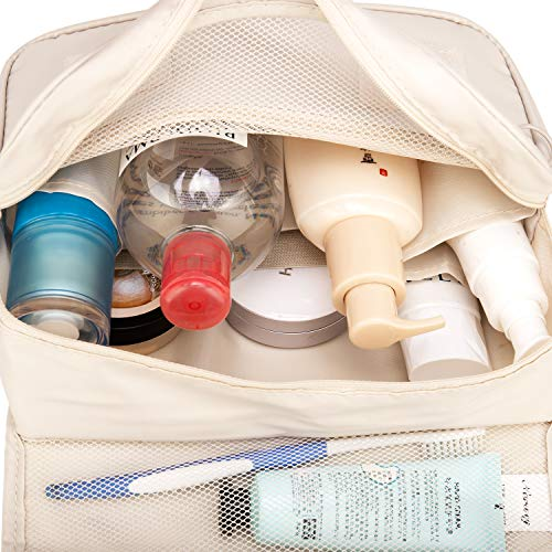 Hanging Travel Toiletry Bag Cosmetic Make up Organizer for Women and Girls Waterproof (Beige)