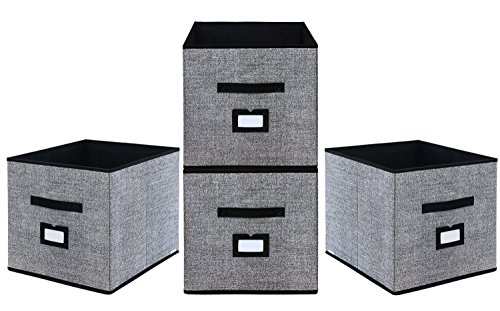 Onlyeasy Foldable Cloth Storage Cubes with Label Holders - Fabric Storage Bins Baskets Organizers for Home Office Nursery with Dual Leather Handles, 13''x15''x13'', 4 Pack Black, MXABXL04PLP by Onlyeasy