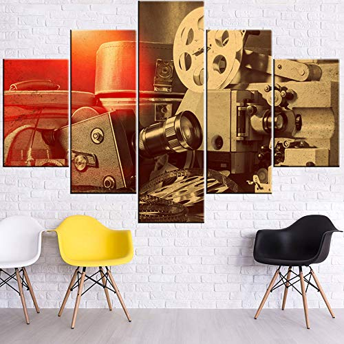 5 Piece Canvas Wall Art Old Antique Camera Pictures for Living Room Retro Movie Equipment Paintings Premium Quality Artwork Modern House Decor Framed Ready to Hang Posters and Prints(60''Wx40''H) (Format Frame Fixed)