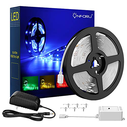 Onforu 16.4ft RGB LED Strip Lights Kit, 5m Flexible Color Changing Lights Strip, 150 Units 5050 RGB SMD LED Rope Lights with 12V Power Supply and Controller for Home Christmas Decor