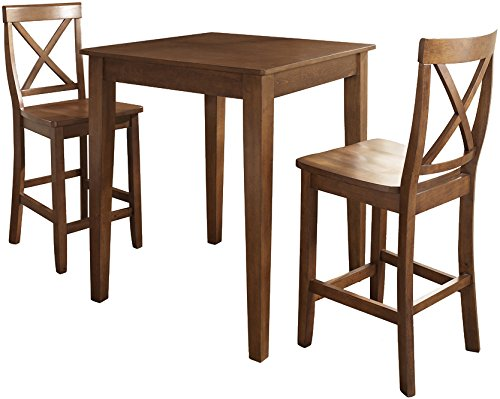 Crosley Furniture 3-Piece Pub Set with Tapered Leg Table and X-Back Stools - Classic Cherry (Cherry Wide Bar Stool)