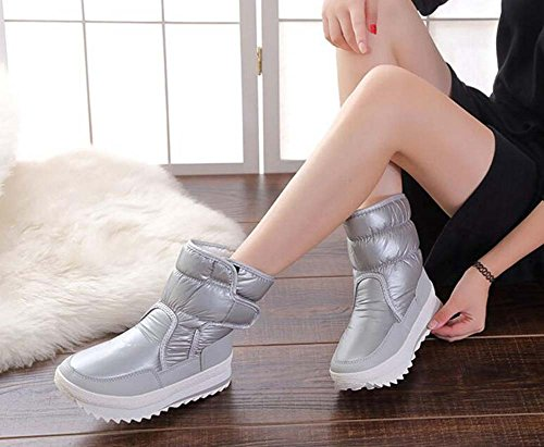 Botas las impermeable mujeres nieve de de algodón 2017 gruesas media pantorrilla de antideslizante tamaño felpa Gray de invierno 34 3cm invierno de Color Eu botas 41 nuevo zapatos Gray cálido de los rxOtq8rIw5