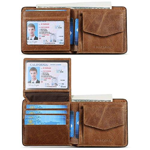 Bi Fold Coin Wallet - BOSTANTEN Genuine Leather Wallets for Men Slim Front Pocket Bifold RFID Blocking Wallet with ID Window