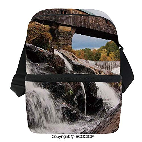 SCOCICI Cooler Bag Old Rustic Oak Covered Bridge Over Cascading Waterfalls Rock Fall Season American City Insulated Lunch Bag for Men Women for Kayak,Beach,Travel,Work,Picnic,Grocery