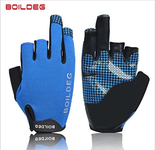 boildeg Professional 3 Fingers Fishing outdoor sport gloves Wear Resistant and anti Skid use for Fishing Boating (Pack of 1 Pair) (Blue, M) by boildeg