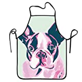 Liubajsdj-Waist Adjustable Professional Apron Kitchen Funny French Bulldog Print Woman Aprons Comfortable Perfect For Cooking Guide