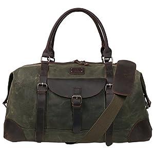 Canvas Duffel Bag TOPWOLFS 22″ Travel Duffle Bag Tote Large Holdall Luggage Carry On Weekender Bag Waterproof Waxed Canvas