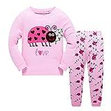 Popshion Pyjamas for Girls Little Kid Long Sleeve 100% Cotton Clothes Ladybug Sleepwears UK Size 2-7 T