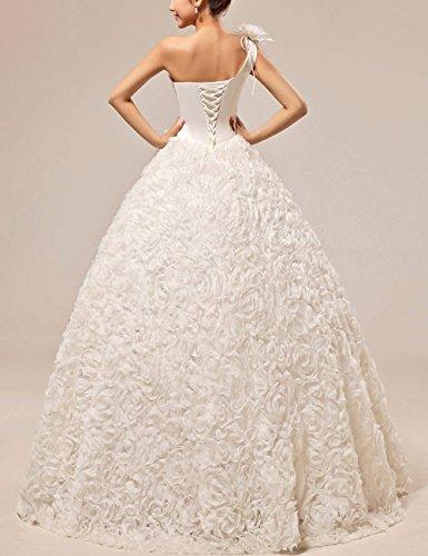 A Shoulder Rückseite Brautkleider Line Weiß lace up Blumen Hochzeitskleider HS1002 3D Lactraum One Pailletten 5n8xZ17Aq