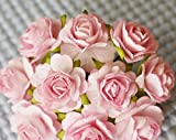 100 Pcs Hight Quality Pink Color #002 Mulberry Paper Flowers of Wedding Roses : 20mm. by Thai Decorated'
