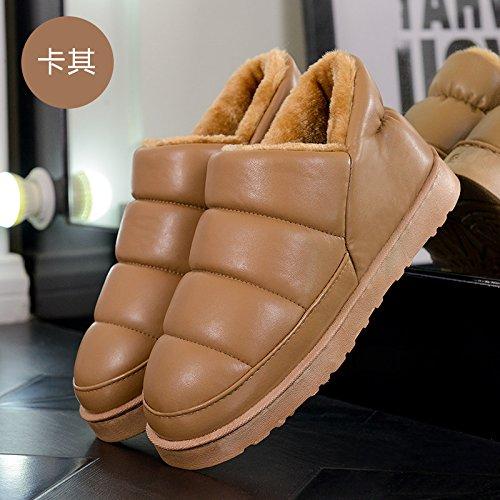 Fankou autunno e inverno pantofole di cotone borsa con il giovane home impermeabile anti-skid spessa caldo uomini e donne pantofole inverno, 37-38 adatto 36-37, marrone