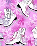 Ice Skates Figure Skating White on Pink Snowflakes Winter Novelties Cotton Fabric Print by the Yard (5649G-22)