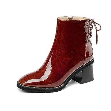 Hy Zapatos de Mujer, Botines de tacón Grueso de Cuero de otoño/Invierno,