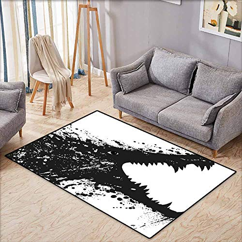 - Large Door mat,Safari Black and White Crocodile Image with Grunge Drawing Style Attacking River Warrior,Anti-Slip Doormat Footpad Machine Washable,4'11