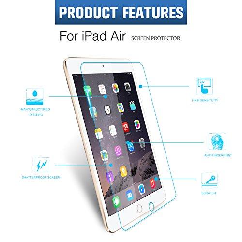 iPad Air Screen Protector, iRAG® 0.33mm 9H Premium Tempered Glass Screen Protector for Apple iPad 6   iPad Air 2   iPad Air [9.7 inch display] - Protect Your Screen from Drops, Scratches and Shatterproof
