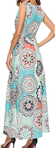 Maxi Printed Crewneck Dresses Blue Sleeveless Swing Sundress Cromoncent Womens vwPxYIqPO