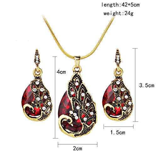 serryNICE Women Elegant Necklaces,RTYou Popular Earring Peacock Jewel Ornaments Necklace Ear Studs Jewellery-Red,Gift]()