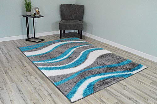 Rug Legend Monaco Polyester Shaggy Modern Contemporary 5x8 5x7 Wave Rug P2928 ()