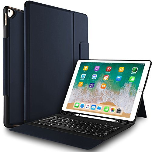 IVSO Keyboard Case for iPad Air 10.5(3rd Gen) 2019-One-Piece Keyboard Stand Case Cover with Pencil Slot for iPad Air 10.5 inch 2019(3rd Gen) iPad Pro 10.5 inch 2017 Tablet(Blue)