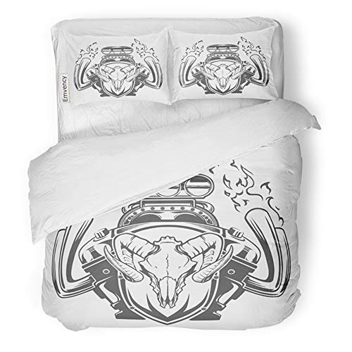 Emvency Bedding Duvet Cover Set Full/Queen (1 Duvet Cover + 2 Pillowcase) Car Motor Emblem Exhaust Muscle Skull Custom Hotel Quality Wrinkle and Stain Resistant -
