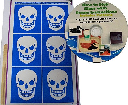 Skull Glass Etching Stencil Designs + How to Etch CD with Patterns