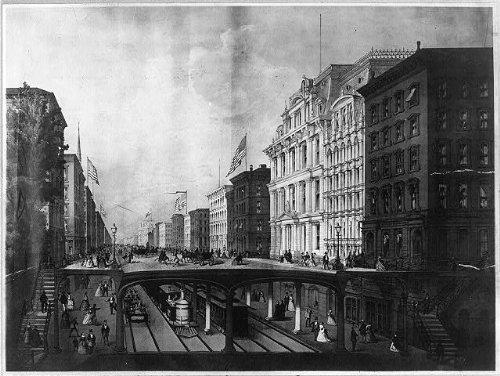 Photo: Proposed arcade railway,Wall Street,New York City,1869,NYC,New York,NY,subway