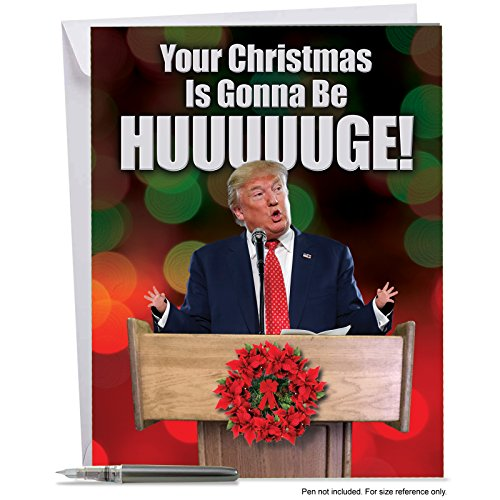 "J2557XSG Jumbo Funny Merry Christmas Card: Trump Huge Christmas: Politics aside, this Christmas card ""Trumps"" all others for fun and funny.<brx2F;> With Envelope (Big Size: 8.5"