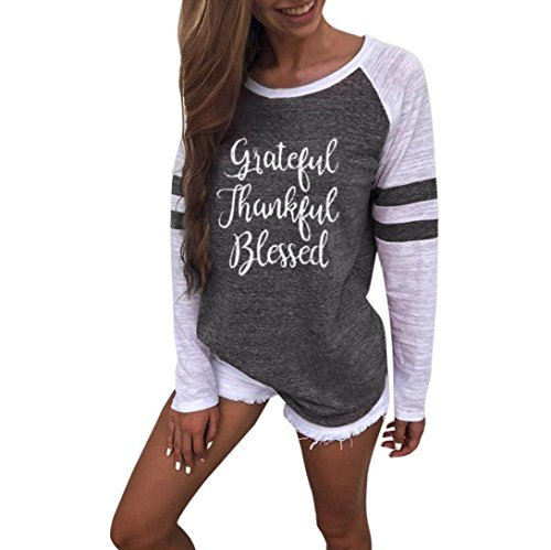 DEATU Women Plus Size Thanksgiving Letter Print Ladies Long Sleeve Vintage Blouse Tops Patchwork T Shirt (L, Gray)