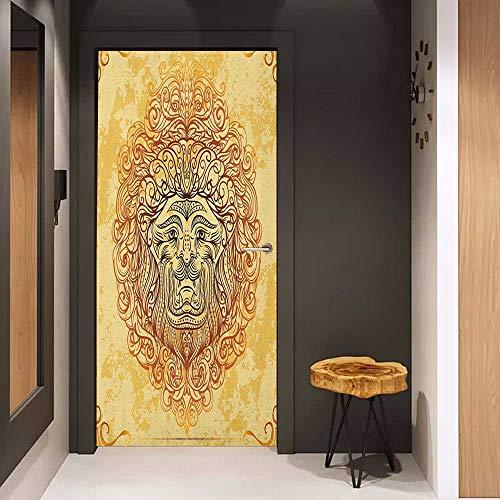 - Pantry Sticker for Door Safari Zodiac Lion Baroque Motifs on Grunge Aged Background Pride Sign Astrology Theme Sticker Removable Door Decal W36 x H79 Yellow Orange