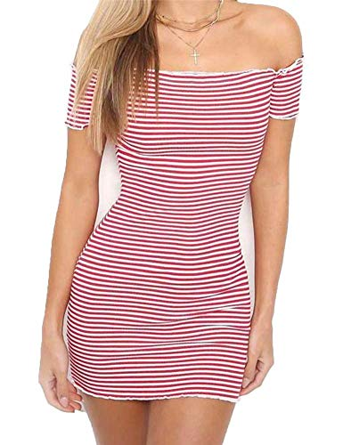 (Women's Casual Off Shoulder Stripe Bandeau Cocktail Pencil Elegant Dress L Red and White Stripes)