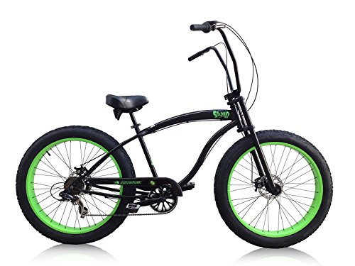 Micargi Slugo-SS-BK/NGRN 26″ Fat Tire Chopper 7sp Cruiser Bicycle, Black/Green For Sale