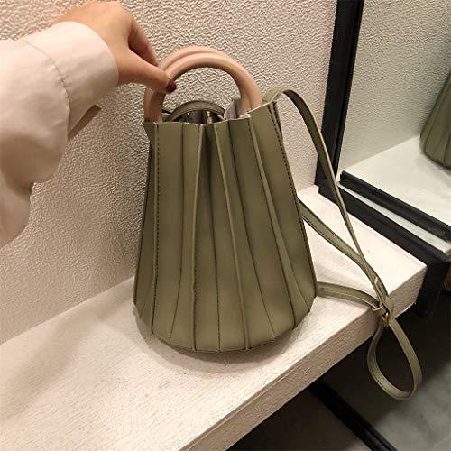 Women Handbag Pleated Hobo Bag Round Handle Bucket Leather Grocery Bag Crossbody