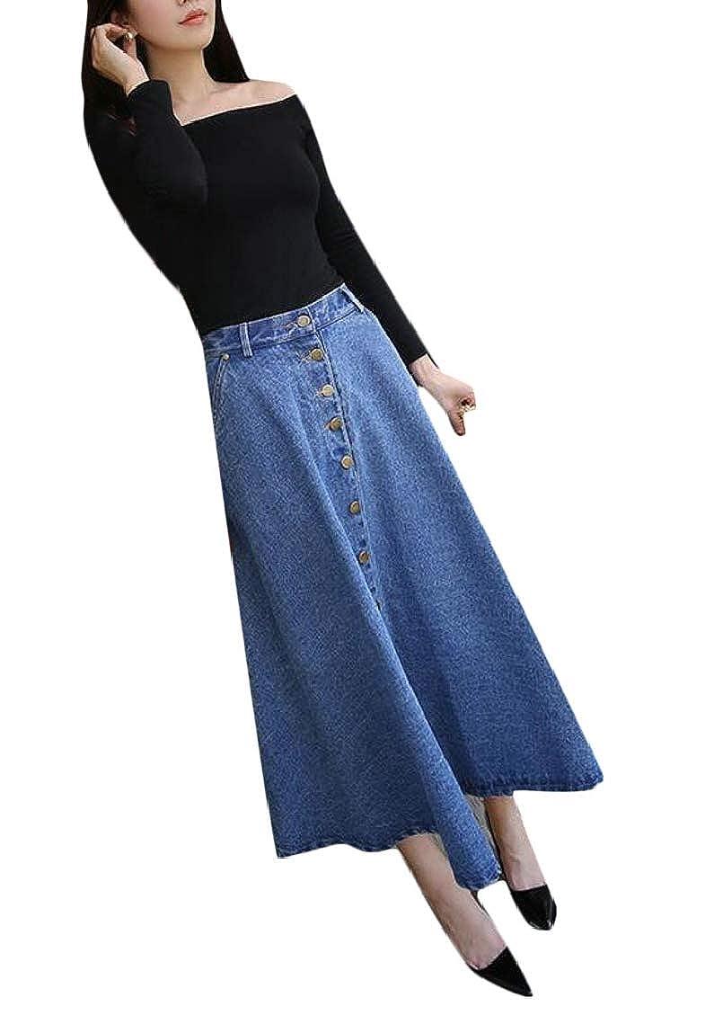 Sweatwater Womens Single Breasted All-Match Denim Swing High Waist Jean Skirts