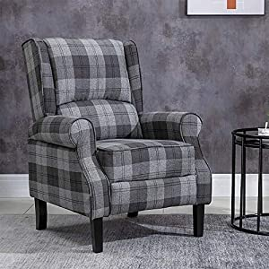 HUISEN furniture Comfy Recliner Armchair Chair Living Room Reclining Chair Checkered Fabric Upholstered Leisure Chairs…