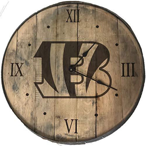 Rustic Marlin Designs NFL Cincinnati Bengals Bourbon Barrel Clock, Team Color, 20