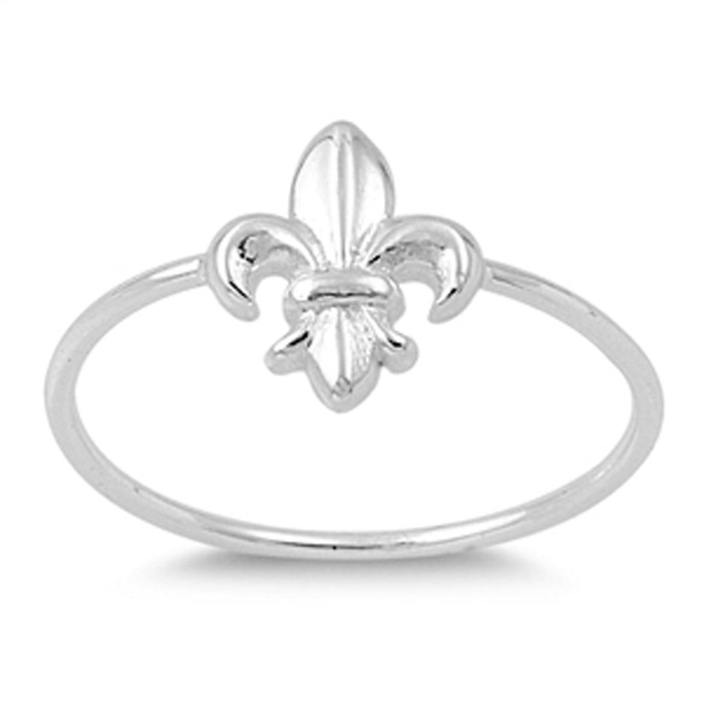 Fleur De Lis Promise Ring New .925 Sterling Silver Thin Band Sizes 2-10 Sac Silver