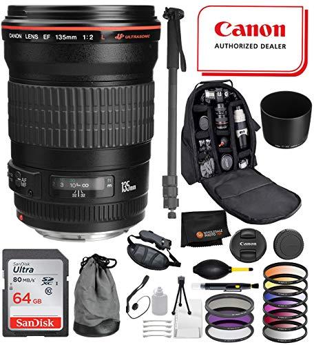 Canon EF 135mm f/2L USM Lens with Professional Bundle Package Deal Kit for EOS 7D Mark II, 6D Mark II, 5D Mark IV, 5D S R, 5D S, 5D Mark III, 80D, 70D, 77D, T5, T6, T6s, T7i, SL2