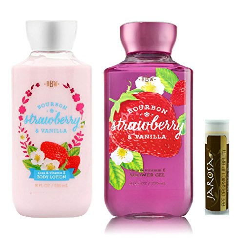 Bath & Body Works Gift Set Bourbon Strawberry & Vanilla Lotion, Bourbon Strawberry & Vanilla Gel with a Jarosa Bee Organic Chocolate Bliss Lip Balm