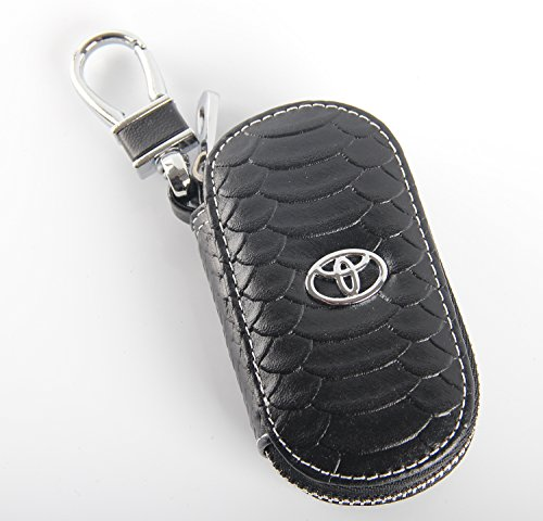 Case Bag Keychain (Key chain Bag Oval fish scale stripes Genuine Leather Ring Holder Case Car Auto Coin Universal Remote Smart Key cover Fob Alarm Security Zipper keychain Wallet Bag (Black, Toyota))