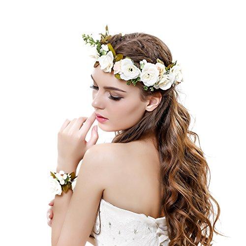 Ever Fairy Women Flower Wreath Crown Floral Wedding Garland Headband Wrist Band Set (Beige-3)