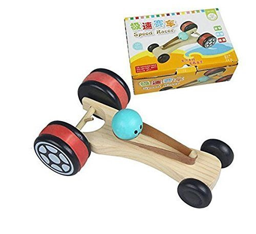 Rubber Band Powered Vehicle (HSOMiD Wooden Rubber Band Race Car Bungee Car Models (Type A))