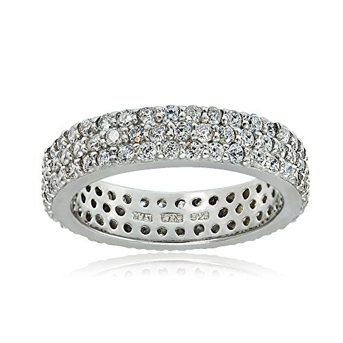 (Sterling Silver Cubic Zirconia Three Row Eternity Band Ring, Size 8)
