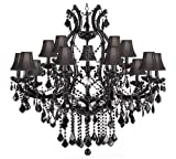 JET BLACK CHANDELIER CRYSTAL LIGHTING CHANDELIERS H38″ X W37″ WITH BLACK SHADES! Review