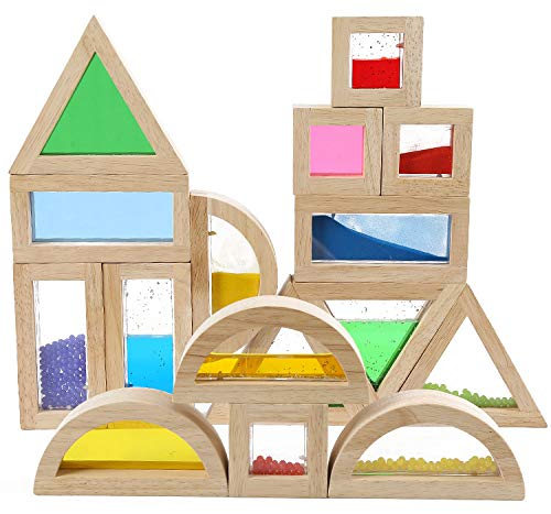 Agirlgle Wooden Large Building Blocks for Toddlers Baby Kids 16 Pcs Geometry Sensory Wood Rainbow Stacking Blocks Construction Toys Set Colorful Preschool Learning Educational Toys for Boys Girls ()
